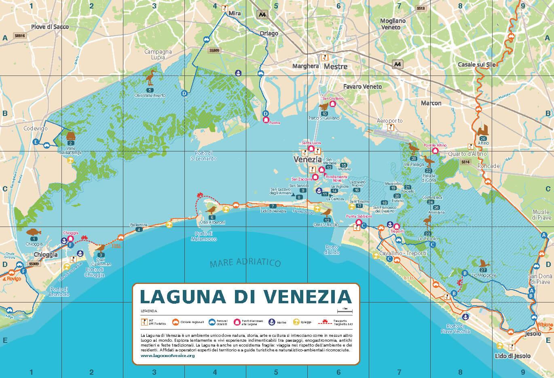 Cartina Laguna Di Venezia.Itinerari Lagoon Of Venice
